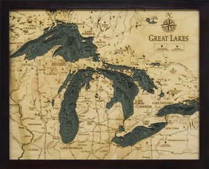 "Great Lakes 3-D Nautical Wood Chart, Small, 16"" x 20"" GRL-D3S"
